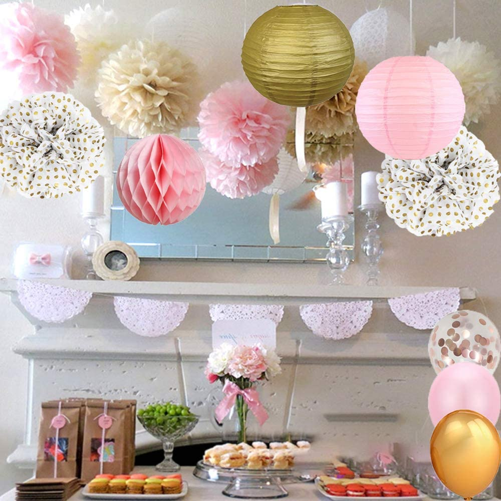 Bachelorette Party Prince Confetti Balloons Latex Balloons Paper Lanterns Ribbon Eokeanon Pink and Gold Party Decorations Balloon inflator Baby Shower 28 Kit Pink Party Supplies Including Paper Pom Poms Perfect For Girl Birthday Party Wedding