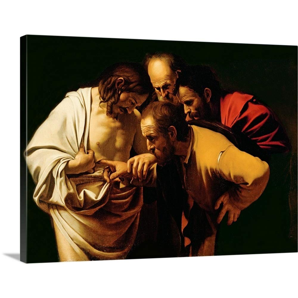 Michelangelo Caravaggioプレミアムシックラップキャンバス壁アート印刷題名のIncredulityのセントトーマス、1602 – 03 40