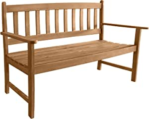 Outdoor Patio Bench Outdoor Patio Bench Wood Garden Bench with Armrests Sturdy Acacia Wood Front Porch Chair 705Lbs Weight Capacity Best Outdoor Wood Bench, Natural Oiled
