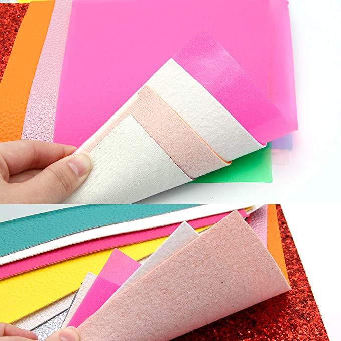 David Angie 20 Pieces A5 Size 5.9 x 8.2 A5 Size Faux Leather Sheet 4 Styles Glitter Transparent Litchi Synthetic Leather Fabric Assorted for Earrings Making 15 x 21 cm
