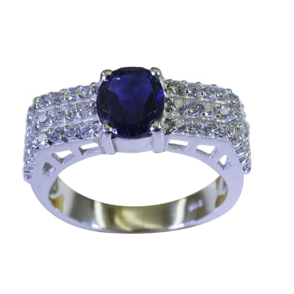 Gemsonclick Natural Iolite Promise Ring In Silver Round Shape Cluster Style Fabulous Design Size 5 To 12