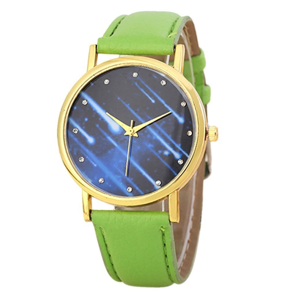 Mandy 2016 Leather Band Analog Quartz Wrist Watch Light Green