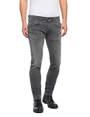 0f2e15b1ac7 Replay Men's Slim Fit Hyperflex + Anbass Jeans - Grey Denim: Amazon.co.uk:  Clothing