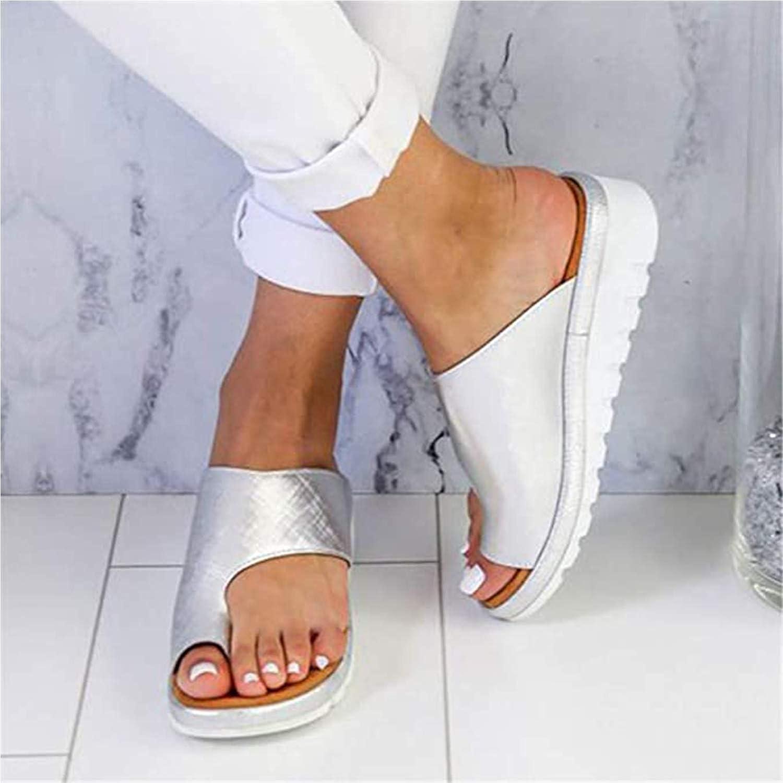 EVR Mujeres Cómodas Sandalias Corrector De Juanetes Ortopédico para Mujeres Zapatos Ortopédicos de Corrección de pie de Dedo Gordo Corrector de Juanetes Ortopédico,Plata,38