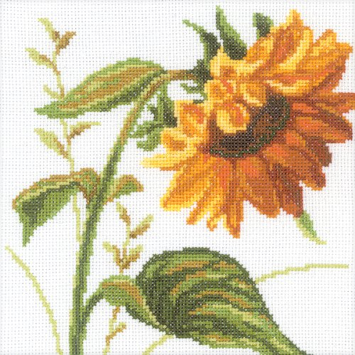 RTO Sunflowers Counted Cross Stitch Kit, 8 by 8-Inch