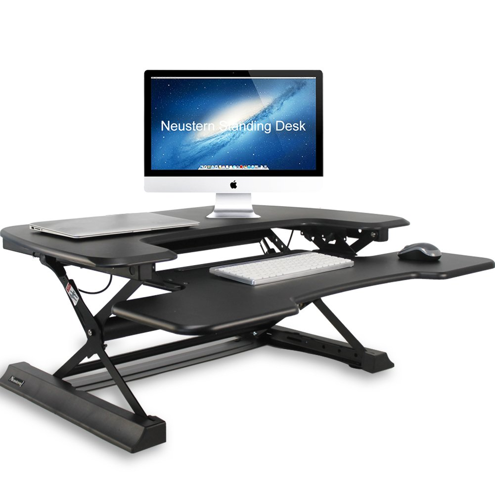 Standing Desk Height-Adjustable 36'' Tabletop Sit to Stand Workstation Neustern Dual Monitor Capable Removable Keyboard Tray