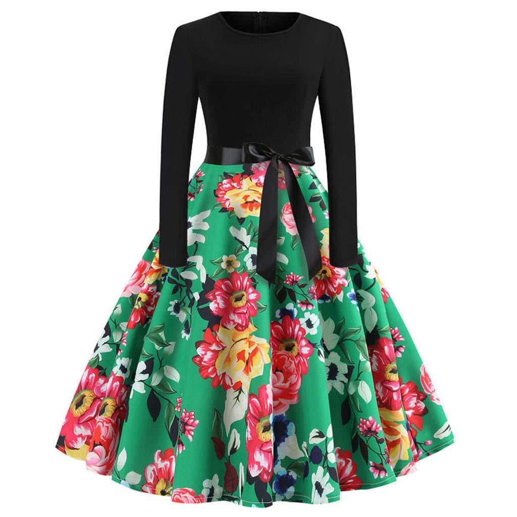Oyedens Damen Langarm Kleid A-Line Knielang Blumen Herbst Kleid Retro-Look Abendkleid Casualkleid Partykleid