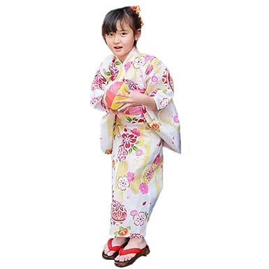 da7a1fad25fb2 浴衣 キッズ セット 生成り地に鞠・桜・桃と矢絣 変わり織り綿浴衣2点セット 浴衣 へこ帯 子供 女の子