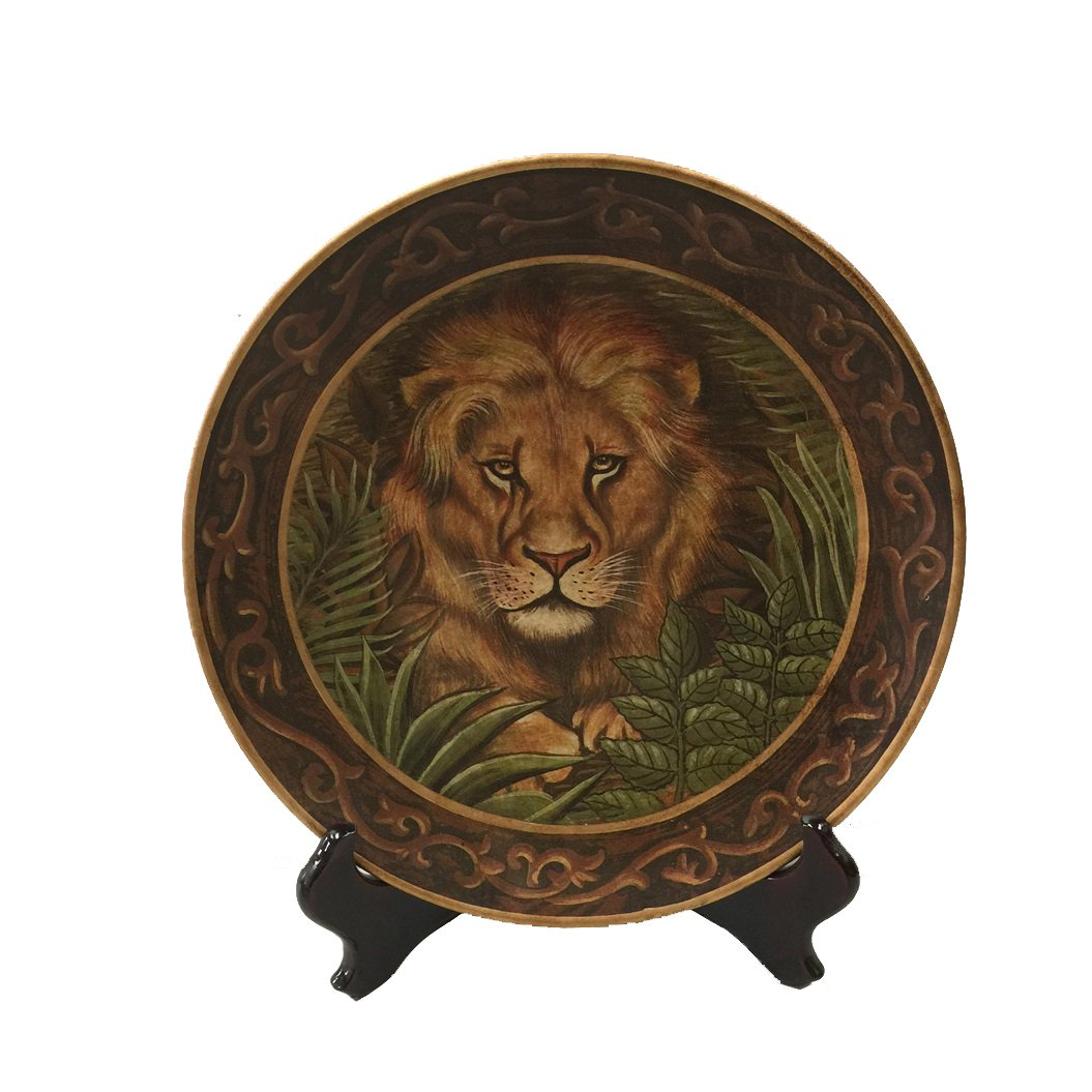 PMJC Hand Painted Lion Oil Painting Porcelain Plate 10