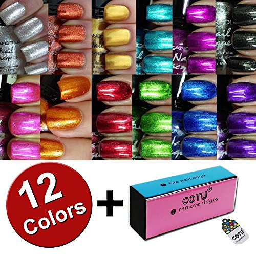 Kleancolor Nail Polish Awesome Metallic Full Size Lacquer Lot of 12 Set and COTU (R) Nail Buffer Block (1 pc)