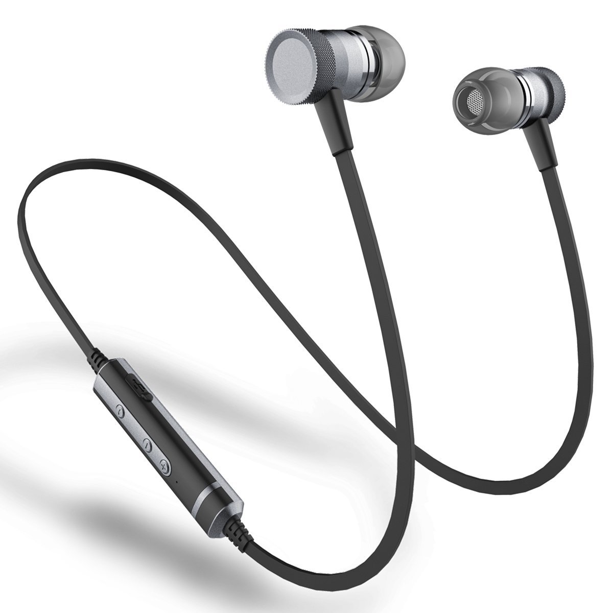 Picun H6 Bluetooth Headphones Wireless with Microphones Sports Earbuds for Running Magnetic, Sweatproof Earbuds IPX4, CSR Bluetooth 4.1 for Phone / Android Workout Headphones Wireless (Black)