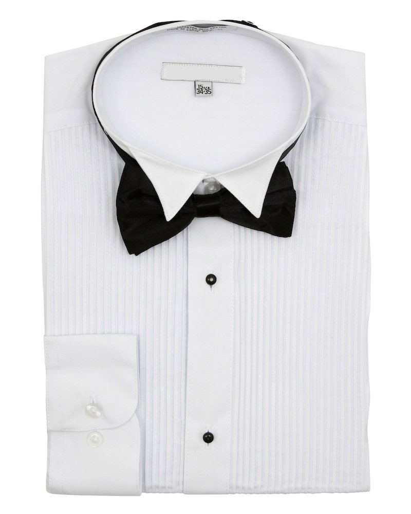 Sunrise Outlet Men's Wingtip Collar Pleated Tuxedo Shirt Bow Tie NTP-DS3005T