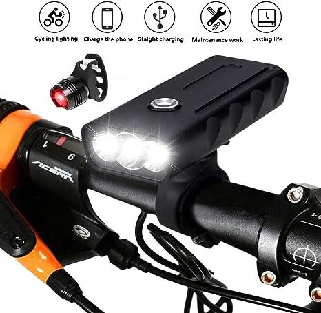 Aimaylly Luz Bicicleta Recargable USB, Linterna Bicicleta con Luz ...