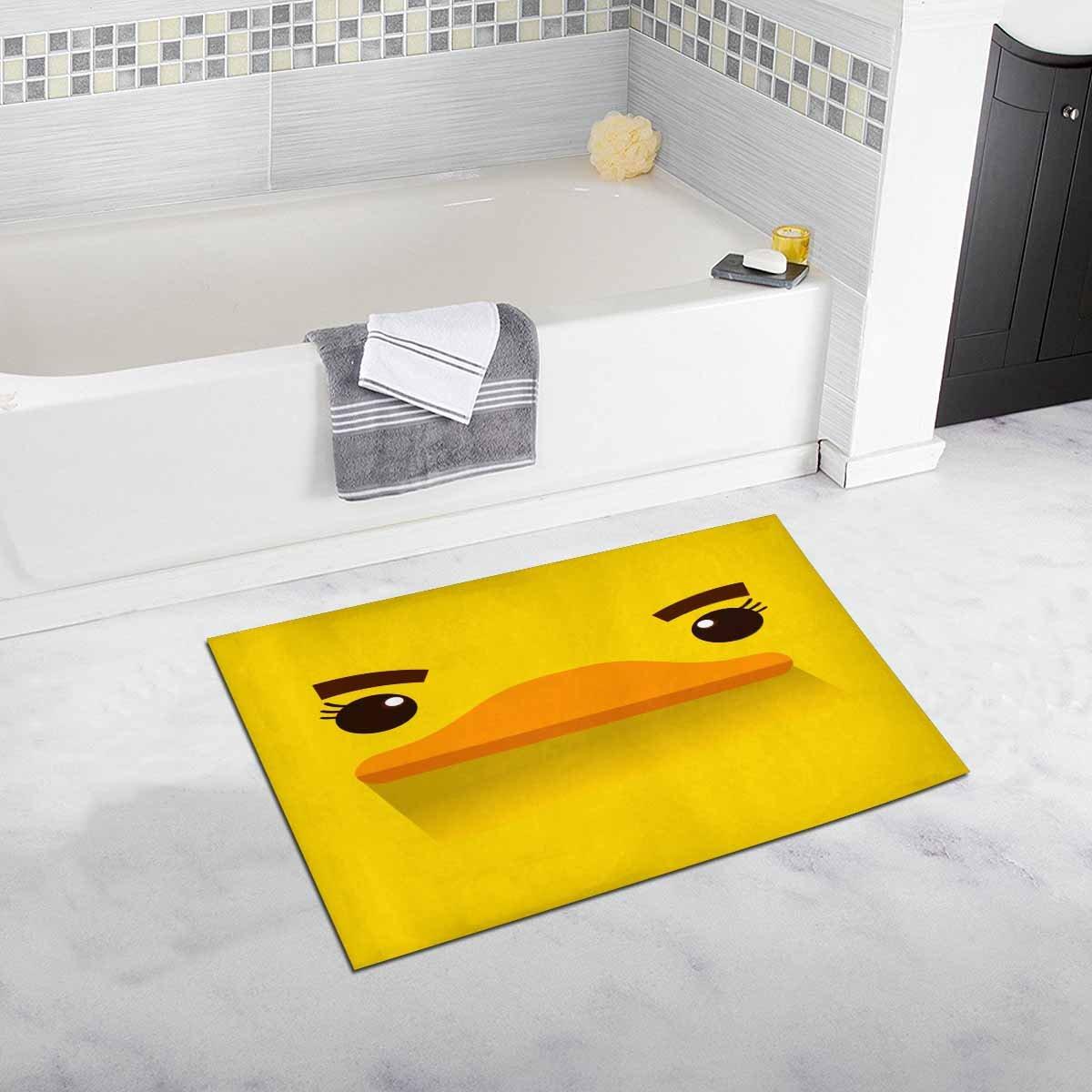 InterestPrint Cartoon Yellow Duck Face Funny Animal Bath Mat Soft Bathroom Rugs Non-slip Rubber0 20 W X 32 L Inches