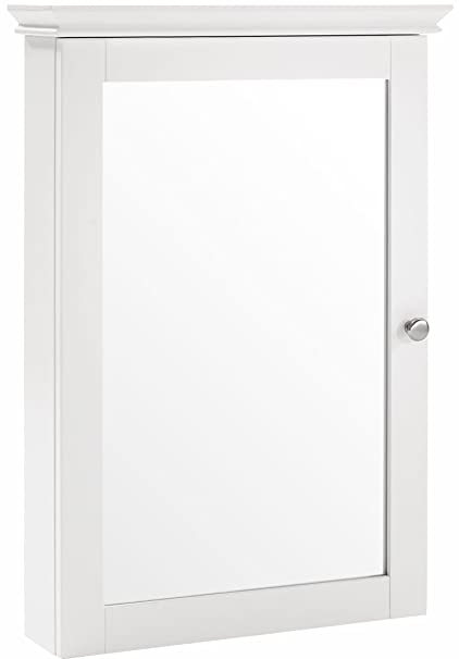 Crosley Furniture Lydia Mirrored Bathroom Wall Cabinet   White