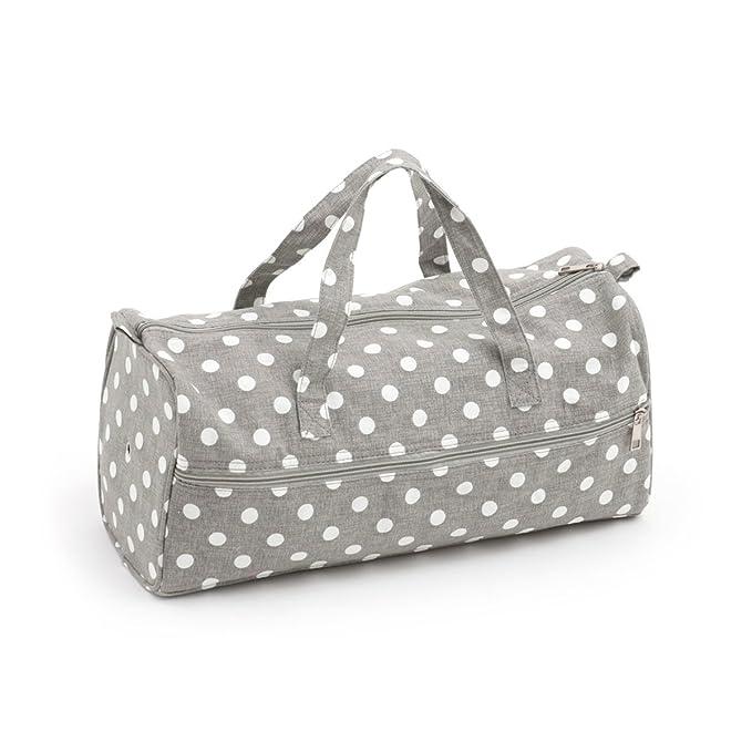Knitting Bag /& Matching Craft Bag - Grey Linen Polka Dot MRB\98\DRK268 PVC