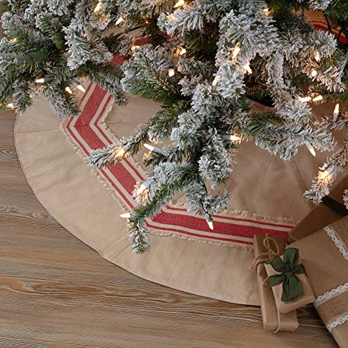 Piper Classics Farmhouse Red Stripe Tree Skirt, 48'' Diameter, Country Farmhouse Christmas and Holiday Seasonal Decor by Piper Classics