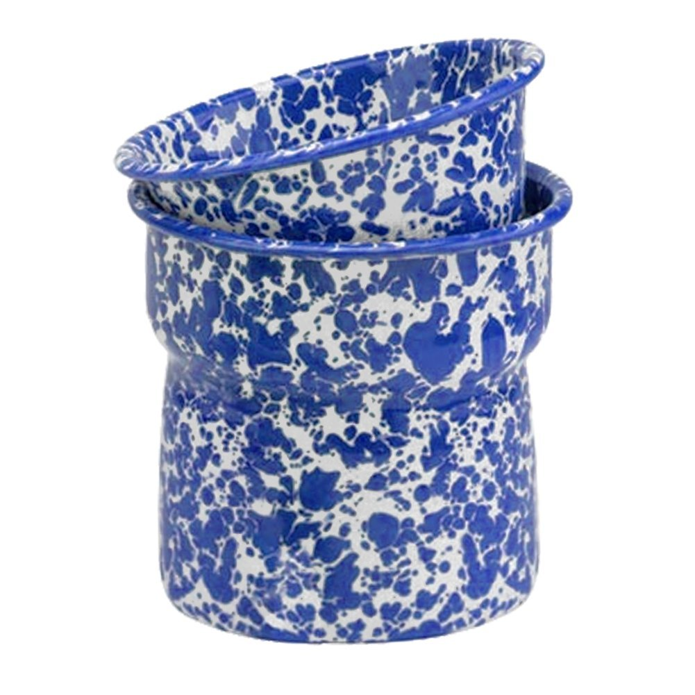 Enamelware 2 Piece Dip Pot Set - Blue Marble CGS International D89DBM