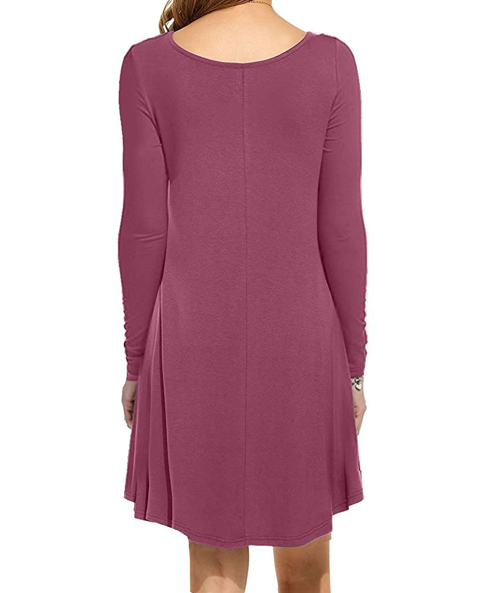 I2CRAZY Women's Long Sleeve Pockets Casual Plain T-Shirt Loose Dresses(11-Long Sleeve-Mauve,XL) by I2CRAZY (Image #2)