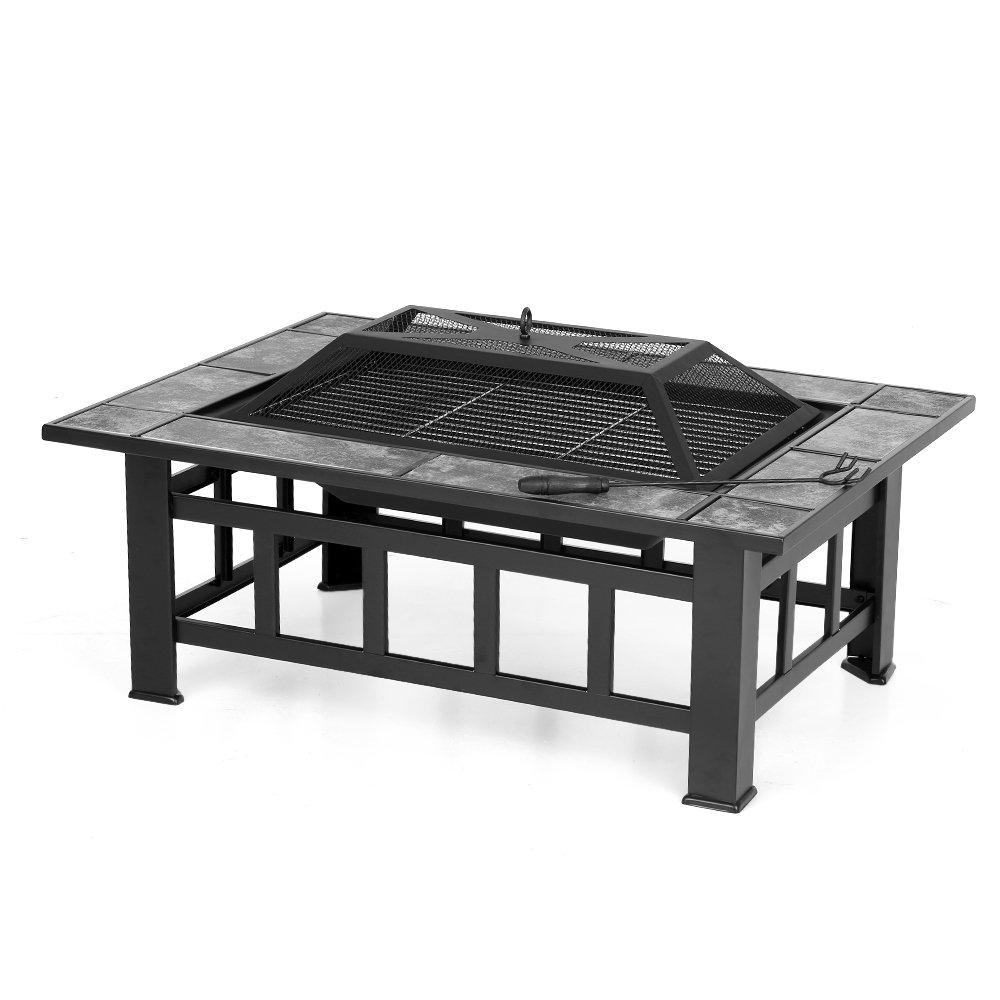 IKAYAA Brasero de Jardin Brasero de Table en M/étal avec Couvercle Puits de feu Foyer Rectangulaire Chemin/ée Ext/érieure de Foyer et Barbecue 94 X 71 X 35 cm