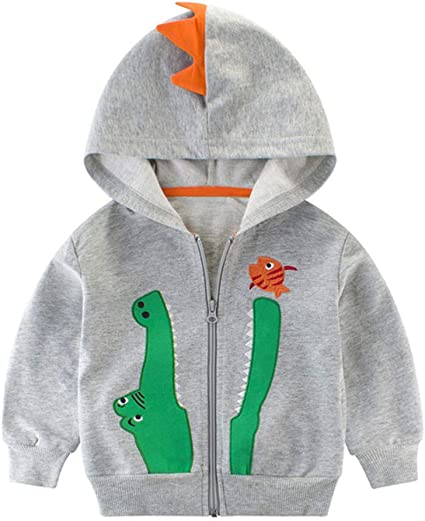 Mud Kingdom Little Boys Dinosaur Hoodies Cute Patchwork