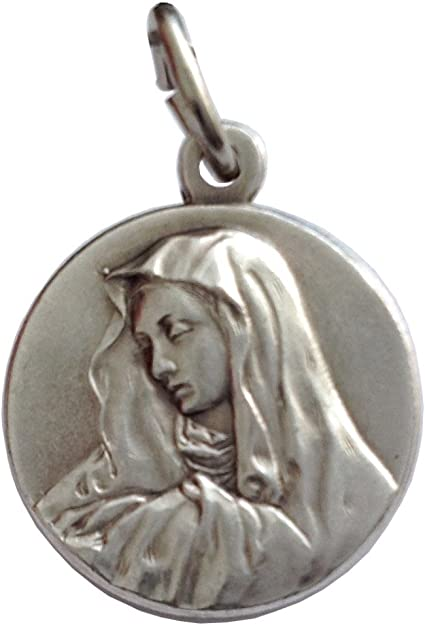 Details about  /.925 Sterling Silver Antiqued Our Lady of Sorrows Medal Charm Pendant MSRP $40