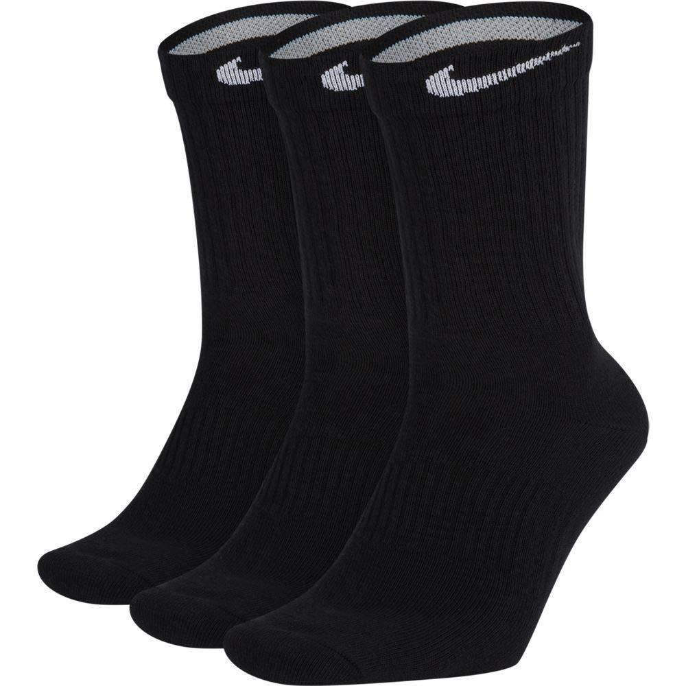 NIKE Unisex Performance Cushion Crew Training Socks (3 Pairs), Black/White, X-Large by Nike