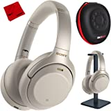 Sony WH1000XM3 Premium Noise Cancelling Wireless Bluetooth Headphones w/Built in Microphone WH-1000XM3/S Silver + Deco Gear Premium Hard Case + Pro Audio Headphone Stand + Microfiber Cleaning Cloth