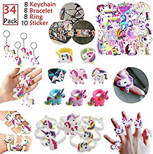 Rainbow Unicorn Party Favors 34pcs - Magical Unicorn Birthday Theme Pack Sets - Unicorn Keychain, Bracelet, Ring, Sticker Party Supplies for Kids Boys Girls Teens