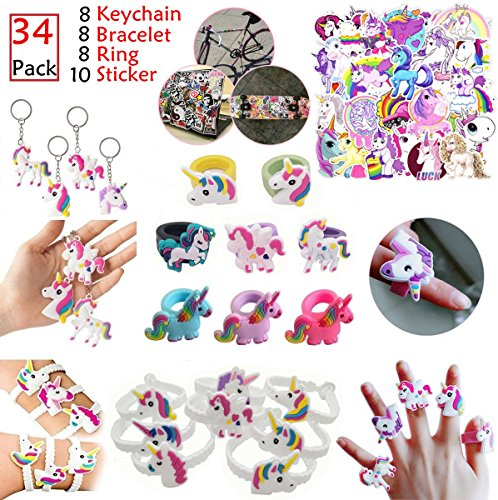 Rainbow Unicorn Party Favors 34pcs - Magical Unicorn Birthda