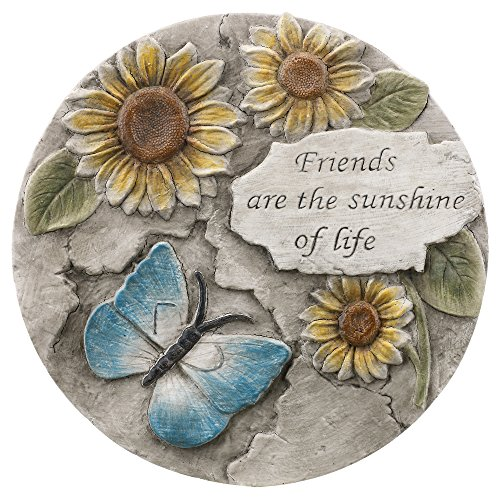 Friends are the Sunshine of Life Floral 10.75 Inch Resin Indoor Outdoor Garden Stepping Stone
