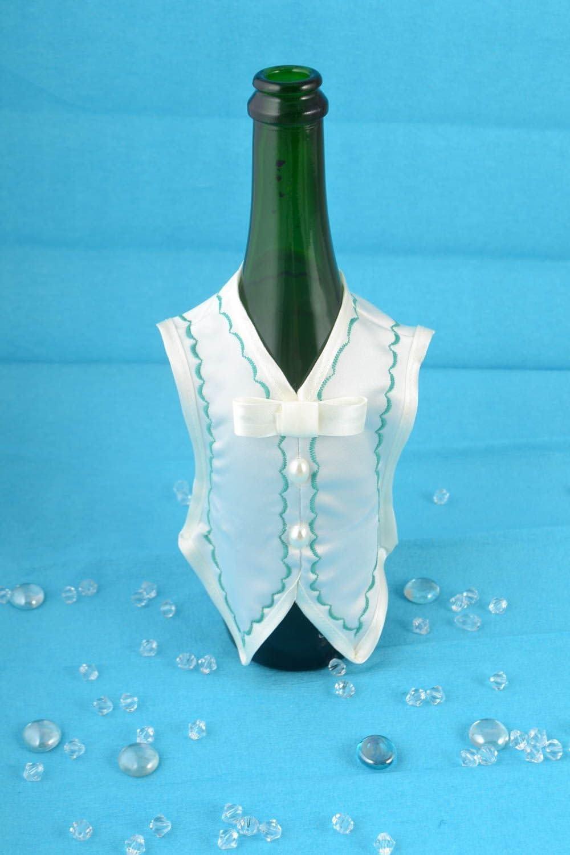 Hecha a mano para boda botella de champán, color blanco satinado ...