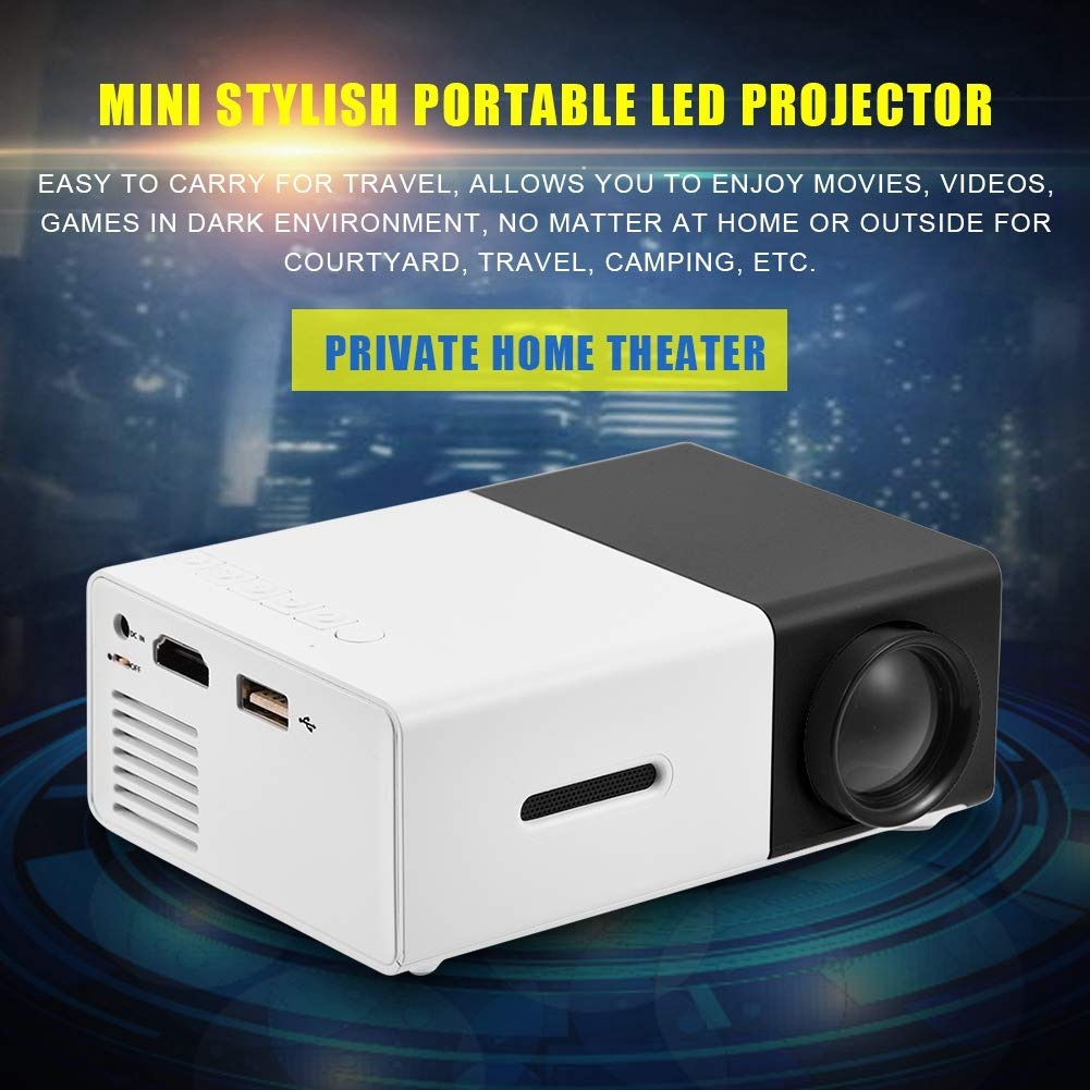 Black + White Home Entertainment Mini Projector,Portable Mini Stylish Home Theater LED Projector HD 1080P HDMI Multimedia Player for Outdoor Recreation