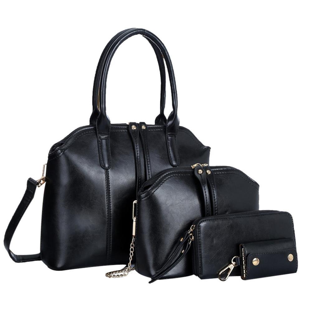 Promotion Handbag Shoulder Bag,Rakkiss Fashion Leather Messenger Bag Satchel Tote Purse Women Large Capacity Work Tote Shoulder Bag (3Pcs)