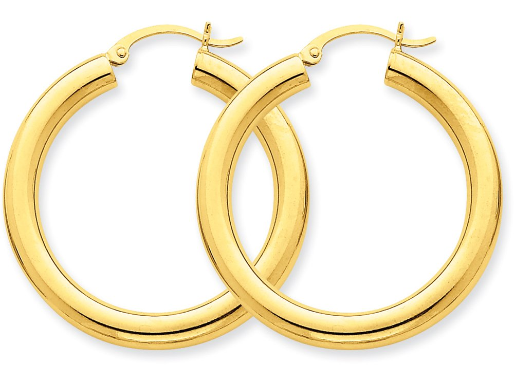 Finejewelers 14k Yellow Gold Polished 4mm X 35mm Tube Hoop Earrings