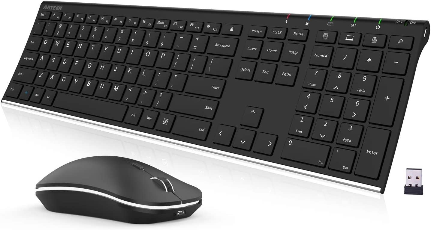 Arteck 2.4G Wireless Keyboard and Mouse Combo Stainless Steel Ultra Slim Full Size Keyboard Keyboard and Ergonomic Mice for Computer Desktop PC Laptop and Windows 10/8/7 Build in Rechargeable Battery