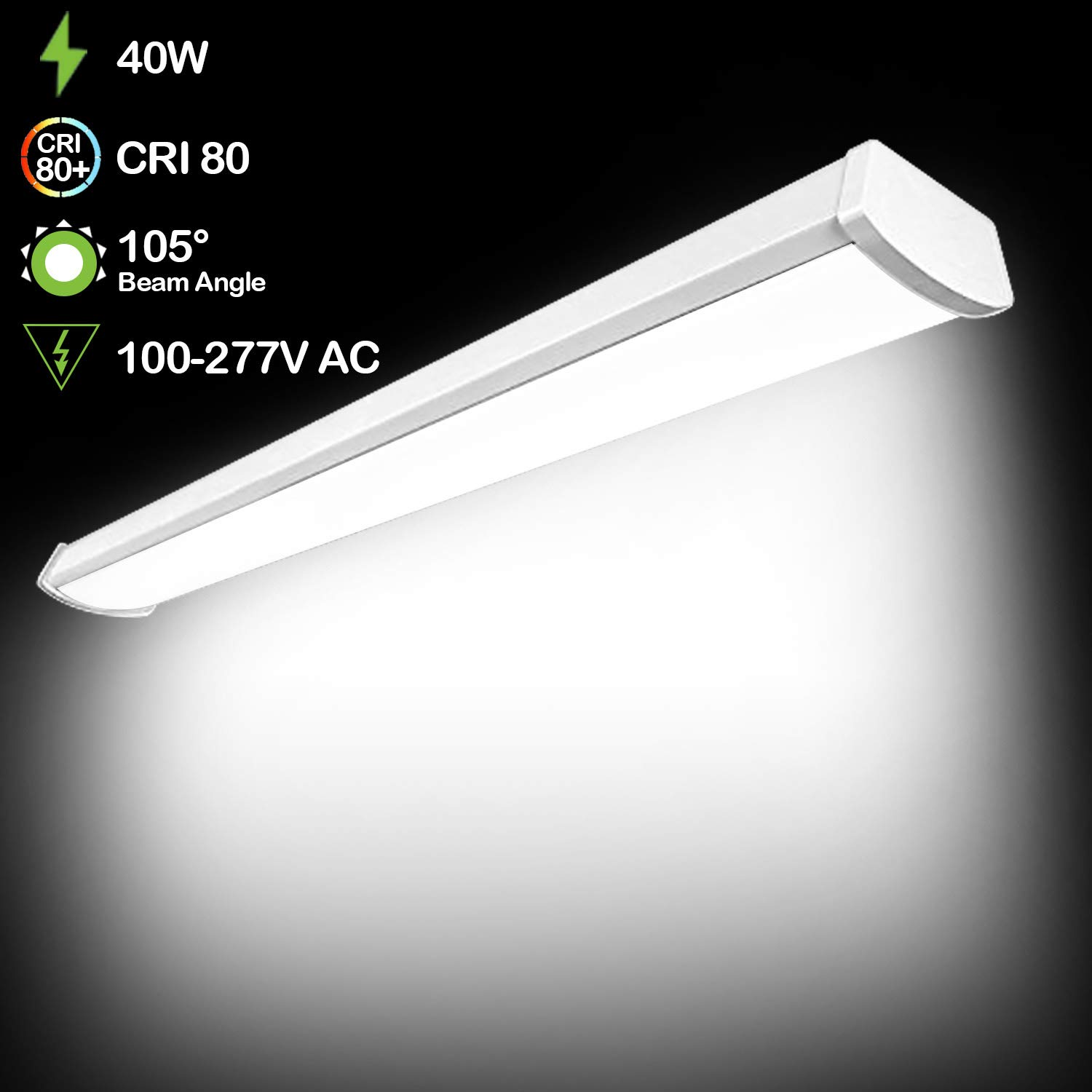 Hykolity 4ft 40w Led Garage Shop Light Wraparound Flushmount Commercial Wiring Flouresent Lights Office Ceiling Lamp 2800 Lumens 5000k Daylight White 64w Fluorescent Equivalent