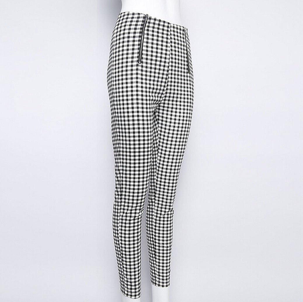 e7f8ffba3f1a Gueuusu Women s High Waist Plaid Skinny Pants Slim Fit Pencil Pants Trousers  Leggings at Amazon Women s Clothing store