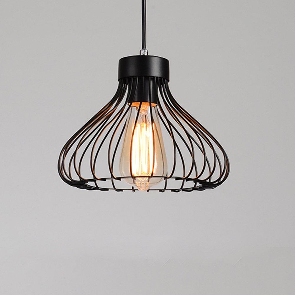 STOEX Lustre Suspension Industrielle R/étro 23cm Plafonnier en Fer M/étal Cage Abat-Jour Luminaire Noir