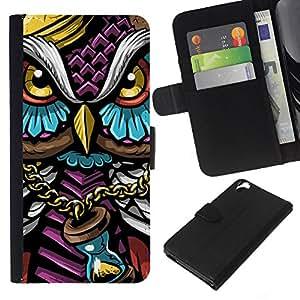 LECELL--Cuero de la tarjeta la carpeta del tirón Smartphone Slots Protección Holder For HTC Desire 820 -- Colorido Búho Gangster --