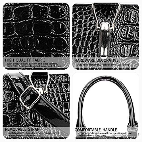Noir portés à Cartable Sacs Femme main Sacs Cuir Sacs Sacs bandoulière Faux portés épaule main DEERWORD Sacs 8FTna