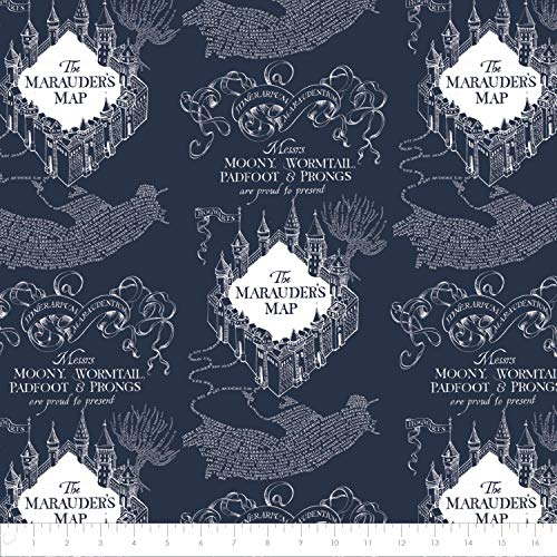 Harry Potter Flannel Wizarding World Marauder's Map in Navy Blue Premium Quality Flannel Fabric by The Yard