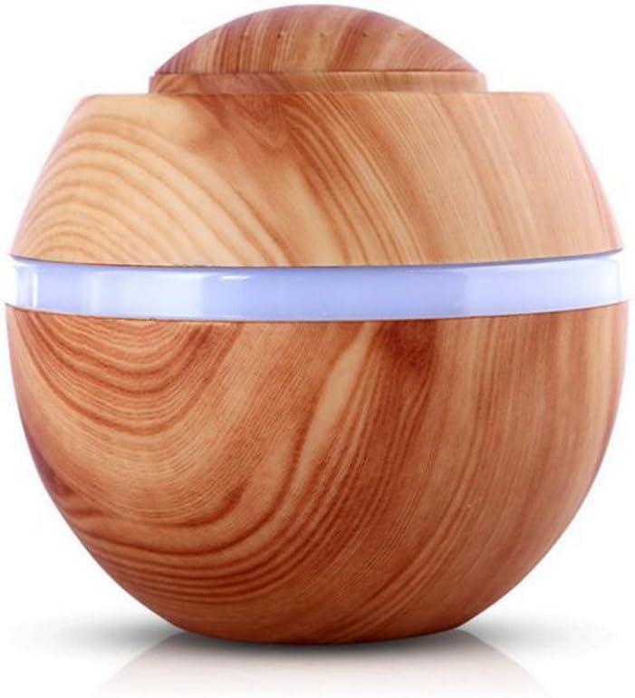 STRIR 500ml Humidificador Aromaterapia Ultrasónico, Difusor de Aceites Esenciales, 7-Color LED,Seguro y Elegante, purificar el Aire y mejorara el Aire seco (Grano de Madera Ligera)