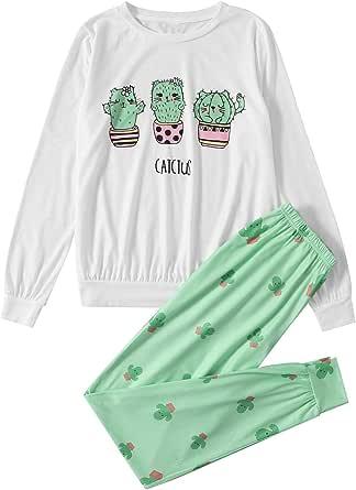 DIDK Women's Cute Cartoon Print Tee and Sweatpants Pajama Set