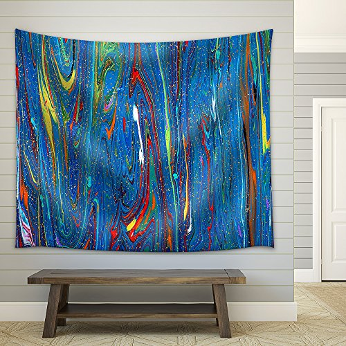 Closeup View of an Original Painting Abstract Dark Grunge Background Fabric Wall Tapestry