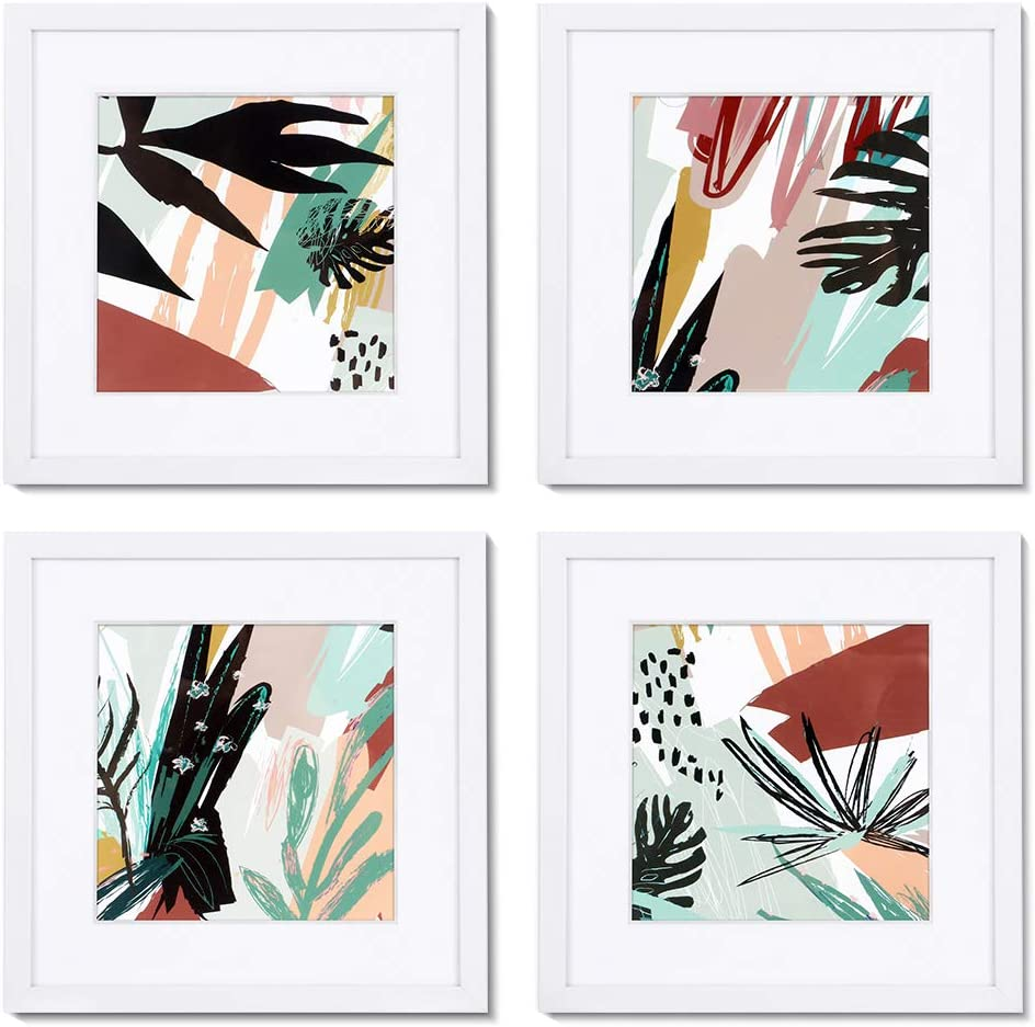 ArtbyHannah 10 x 10 Inch 4 Panels Wall Art Framed Poster White Picture Frame Collage Set with Mat Modern Abstract Wall Art Décor with Tropical Botanical Plant Prints