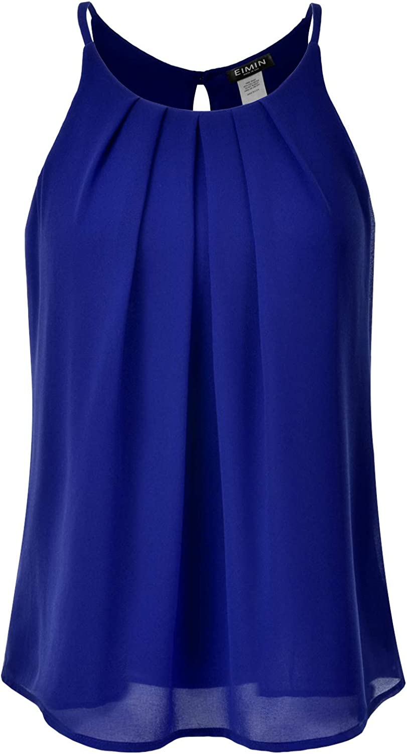 EIMIN Womens Crewneck Pleated Front Double Layered Chiffon Cami Tank Top S-3X