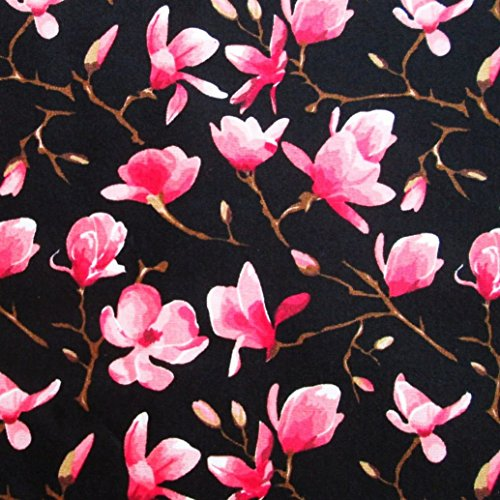 Fabric Cherry Blossoms - Pink Red Cherry Blossom Flower Butterfly in Night on Black Fabric 36 by 36-Inch Wide (1 Yard) (CT704)