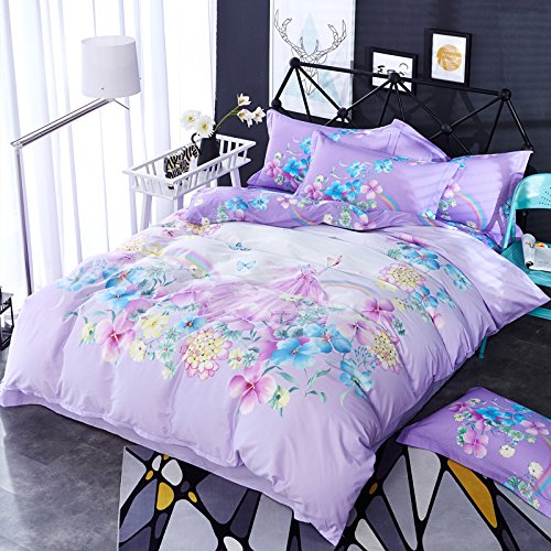 Duvet Cover Sets Cotton Active Printing Four Sets, Blue Mirror Dream, King by RUGAI-UE