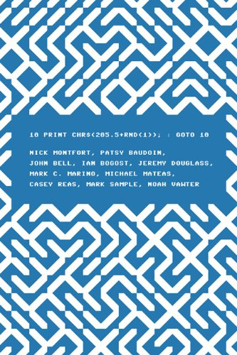 10 PRINT CHR$(205.5+RND(1)); : GOTO 10 (Software Studies) ()